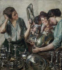 Fritz Stotz painting, women polishing and cleaning household silver.
